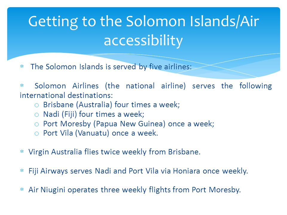 Getting to the Solomon Islands/Air accessibility