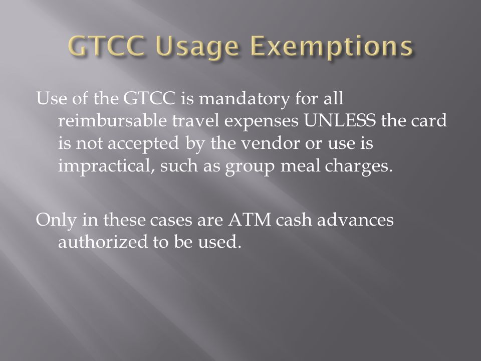 GTCC Usage Exemptions