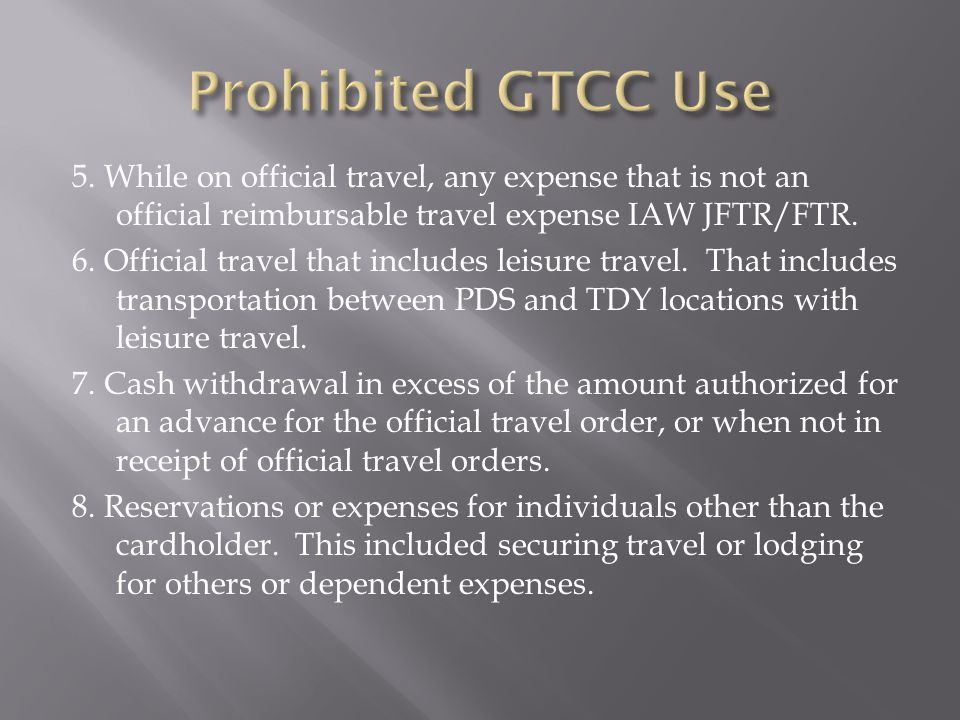 Prohibited GTCC Use