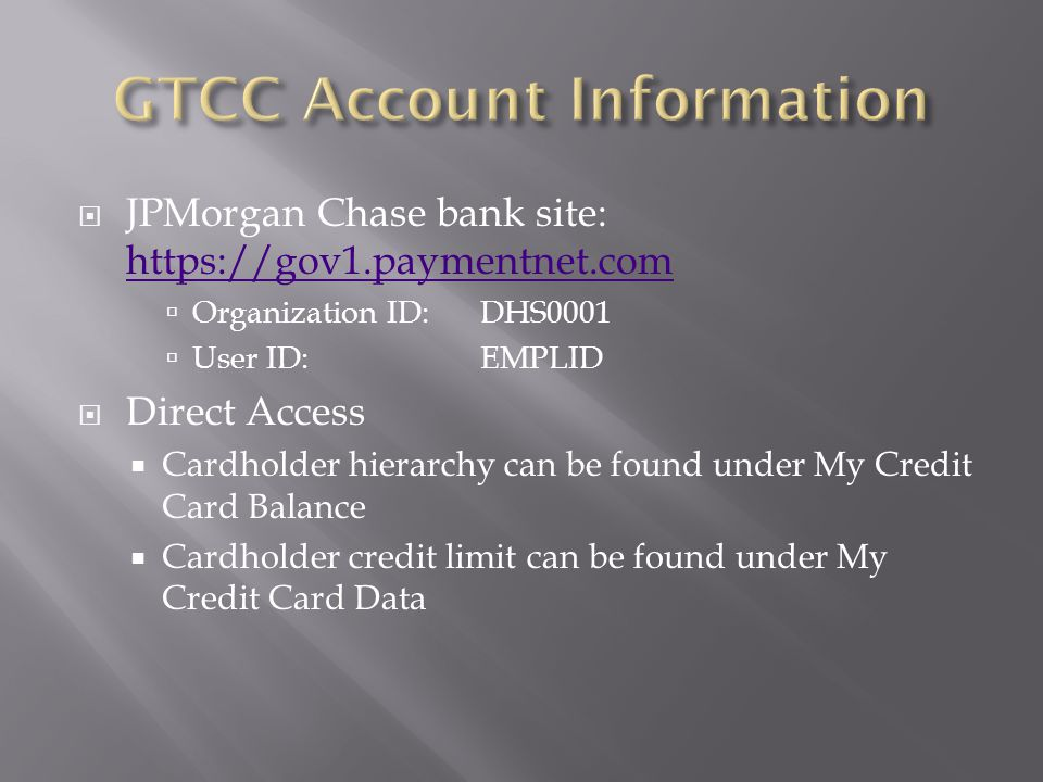 GTCC Account Information