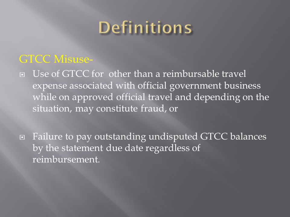 Definitions GTCC Misuse-