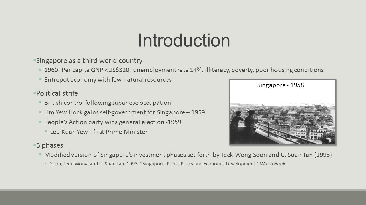 Introduction Singapore as a third world country Political strife