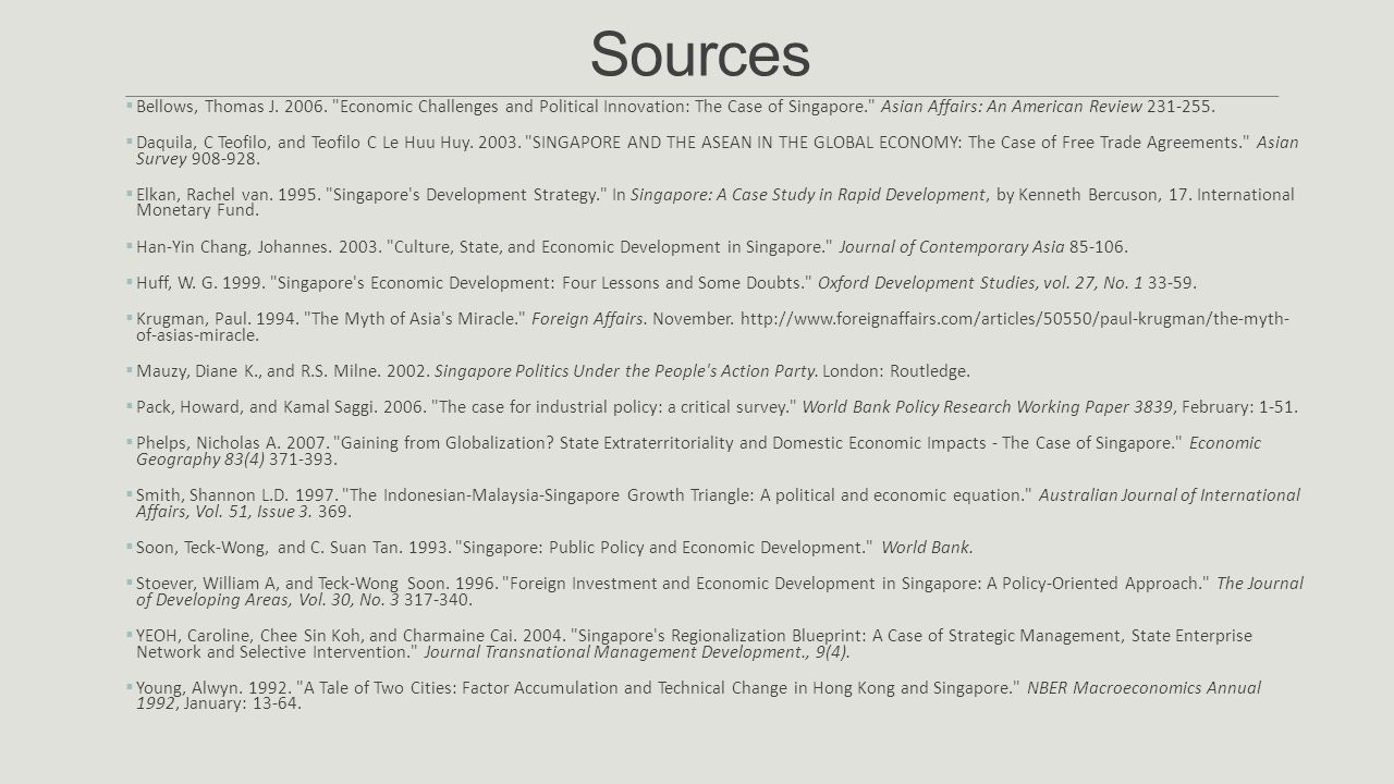 Sources Bellows, Thomas J. 2006. Economic Challenges and Political Innovation: The Case of Singapore. Asian Affairs: An American Review 231-255.