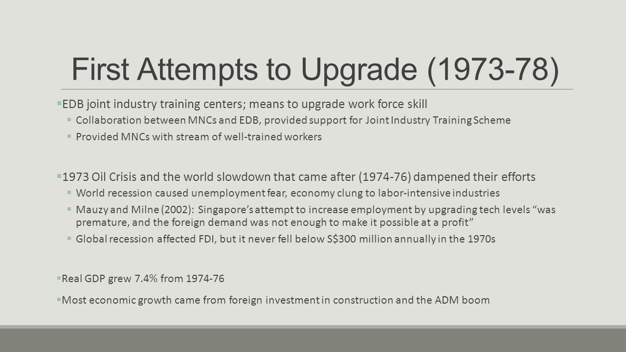 First Attempts to Upgrade (1973-78)