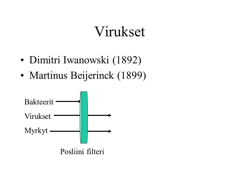 Virukset Dimitri Iwanowski (1892) Martinus Beijerinck (1899) Bakteerit