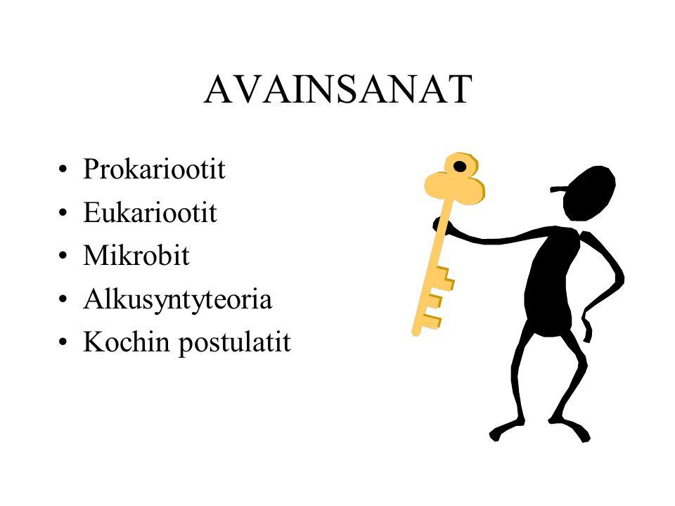 AVAINSANAT Prokariootit Eukariootit Mikrobit Alkusyntyteoria