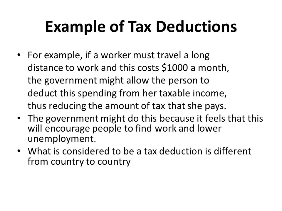 Example of Tax Deductions