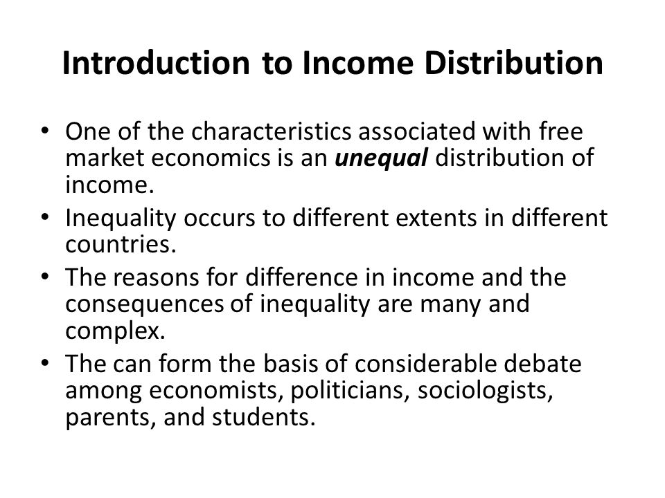 Introduction to Income Distribution