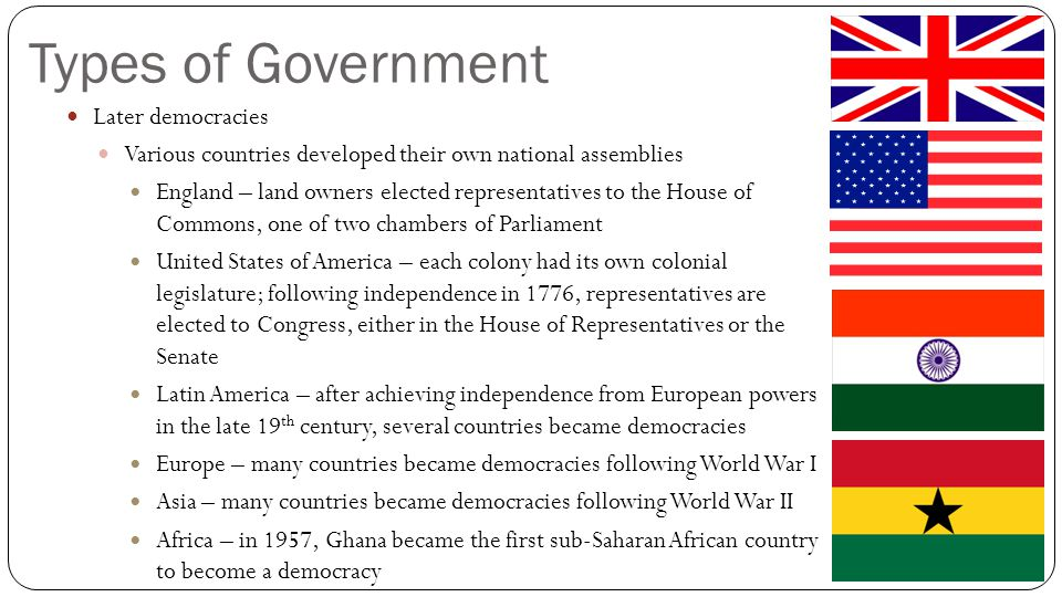 Types of Government Later democracies