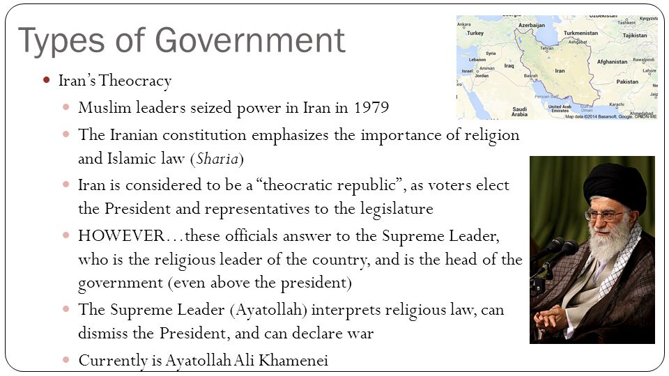 Types of Government Iran's Theocracy