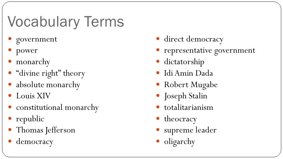Vocabulary Terms government power monarchy divine right theory