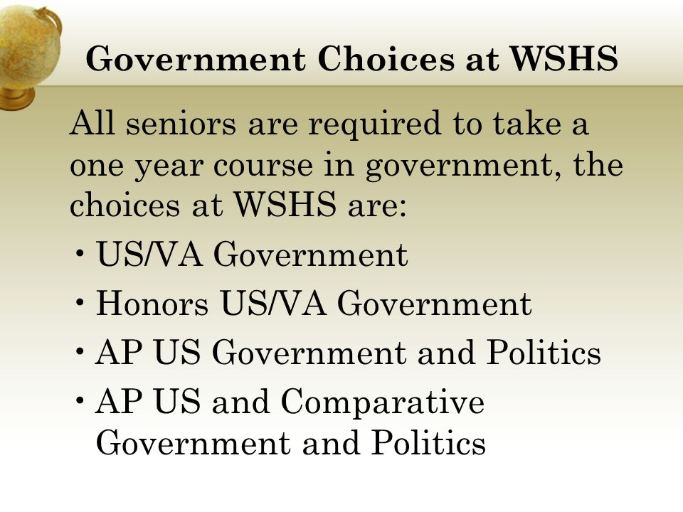 Government Choices at WSHS