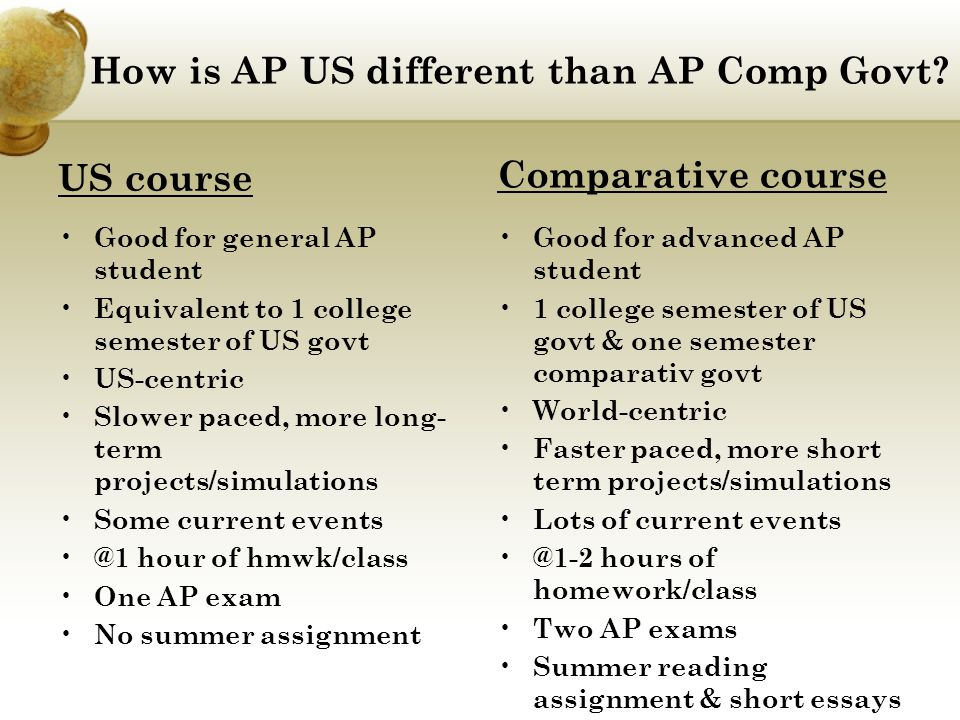 How is AP US different than AP Comp Govt