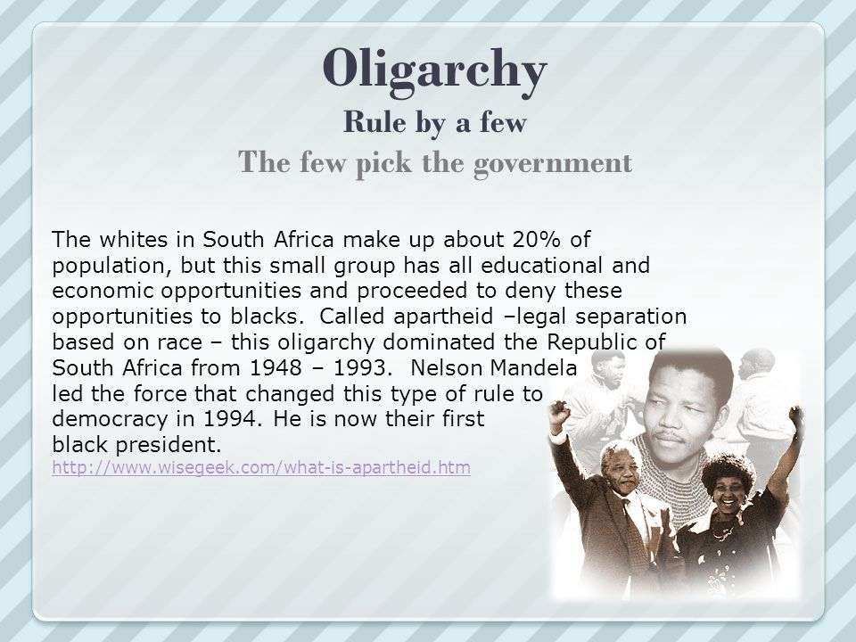 Oligarchy Rule by a few The few pick the government