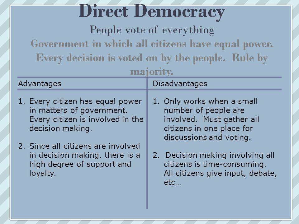 advantage and disadvantage democracy essay Advantages and disadvantages of democracy diversity in a democracy country speech in simple word advantage and disadvantage essay on disadvantage of democracy.