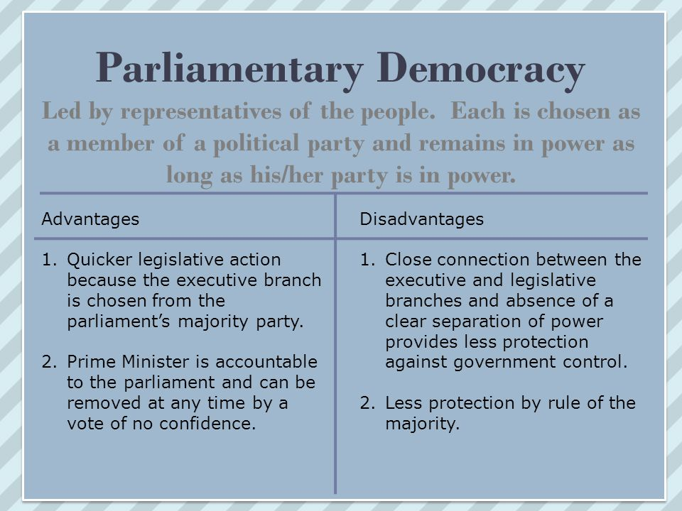 Parliamentary Democracy Led by representatives of the people