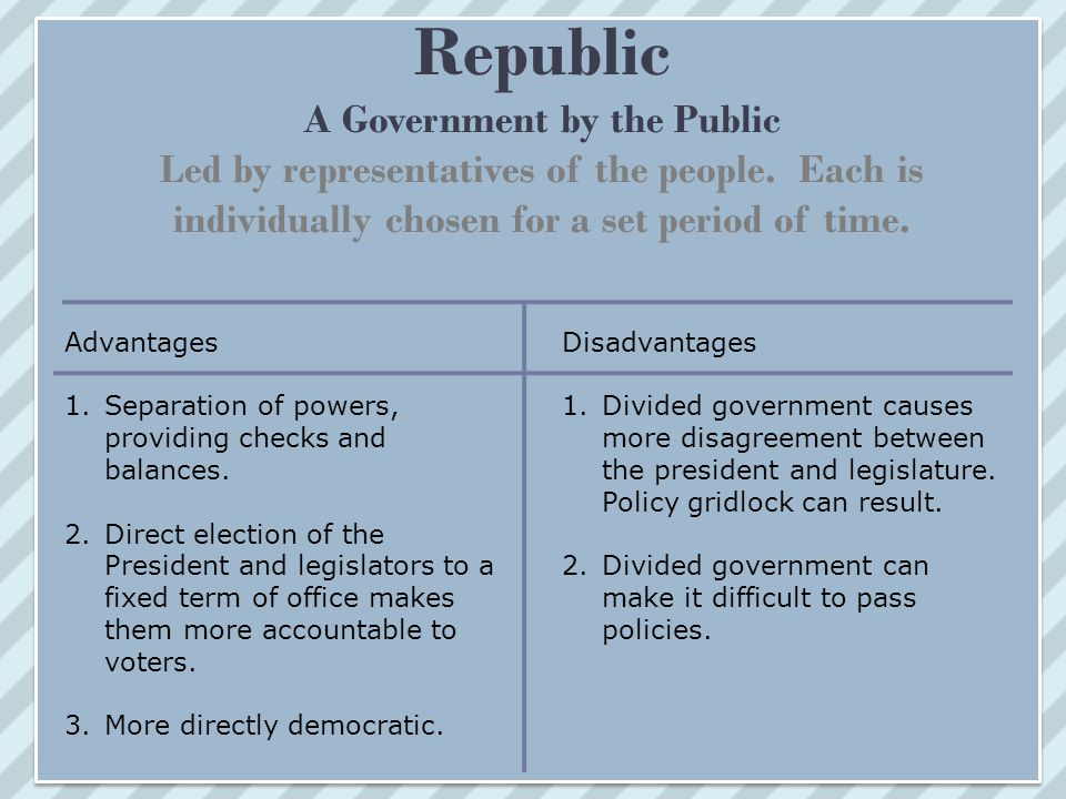 Republic A Government by the Public Led by representatives of the people. Each is individually chosen for a set period of time.