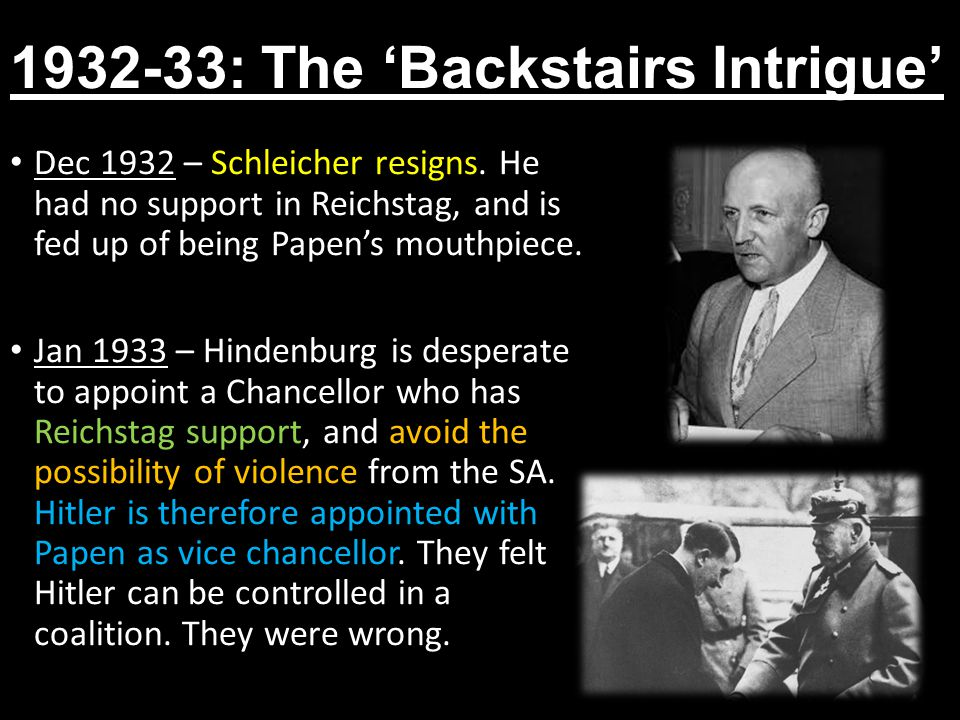1932-33: The 'Backstairs Intrigue'