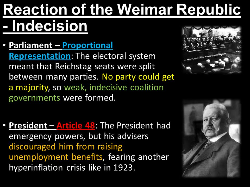 Reaction of the Weimar Republic - Indecision