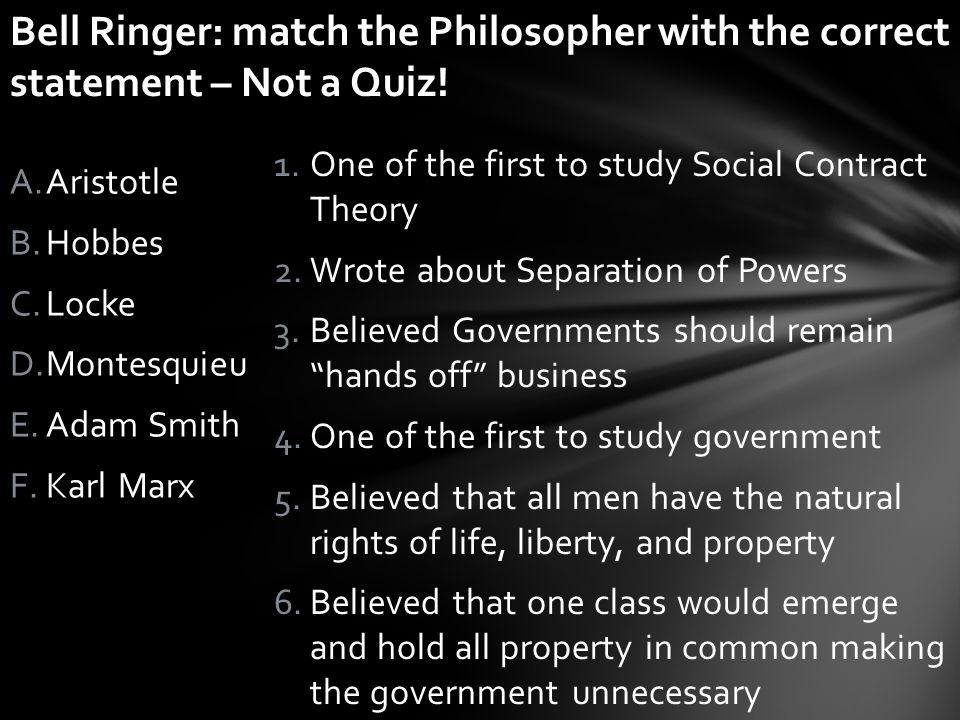 Bell Ringer: match the Philosopher with the correct statement – Not a Quiz!