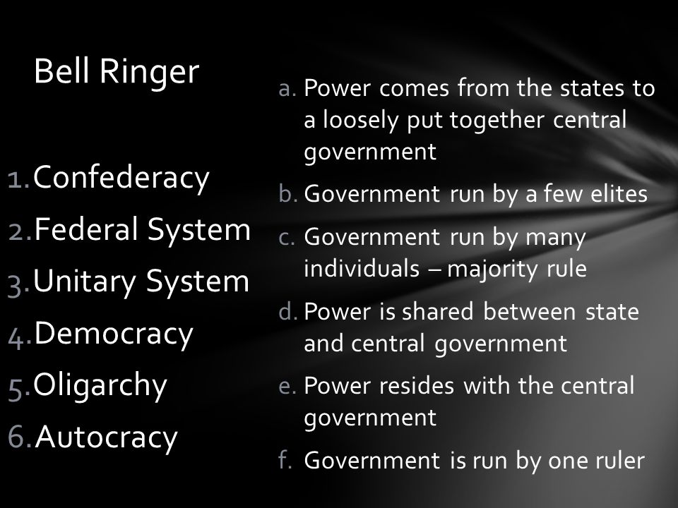 Bell Ringer Confederacy Federal System Unitary System Democracy