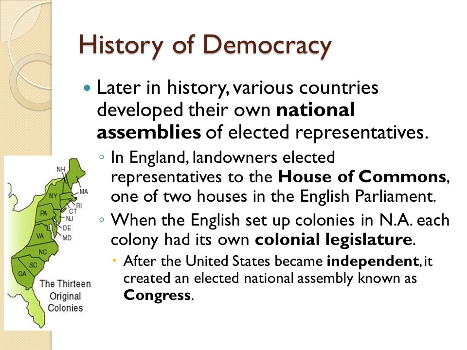 History of Democracy Later in history, various countries developed their own national assemblies of elected representatives.