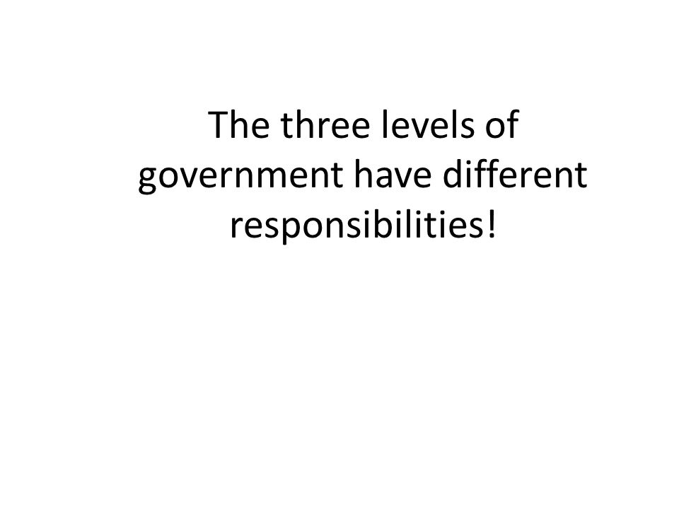 The three levels of government have different responsibilities!