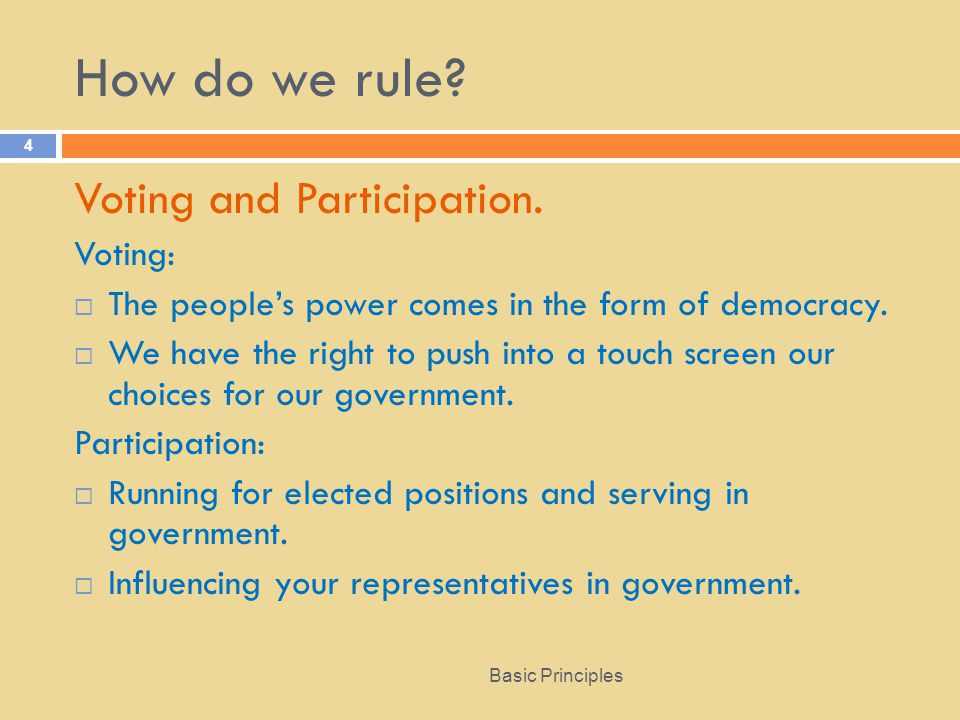 How do we rule Voting and Participation. Voting: