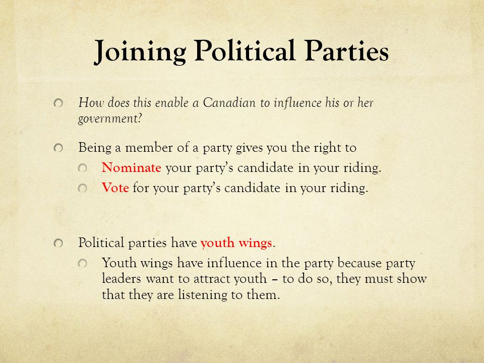 Joining Political Parties