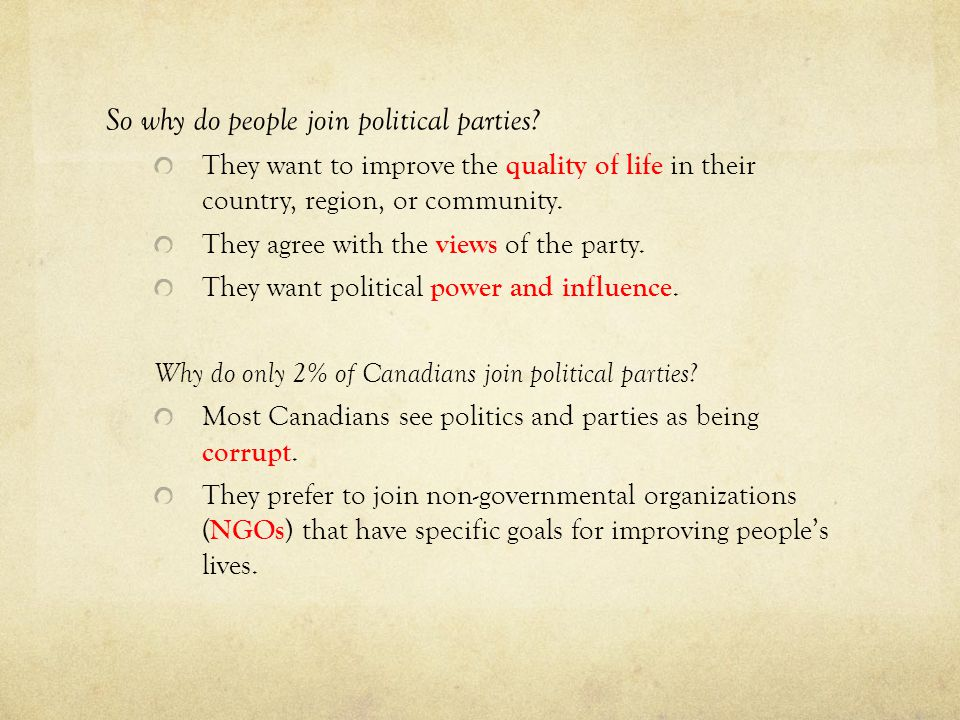 So why do people join political parties