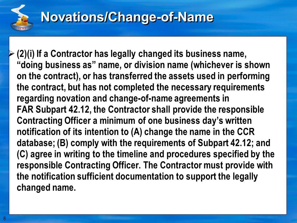 Novations/Change-of-Name
