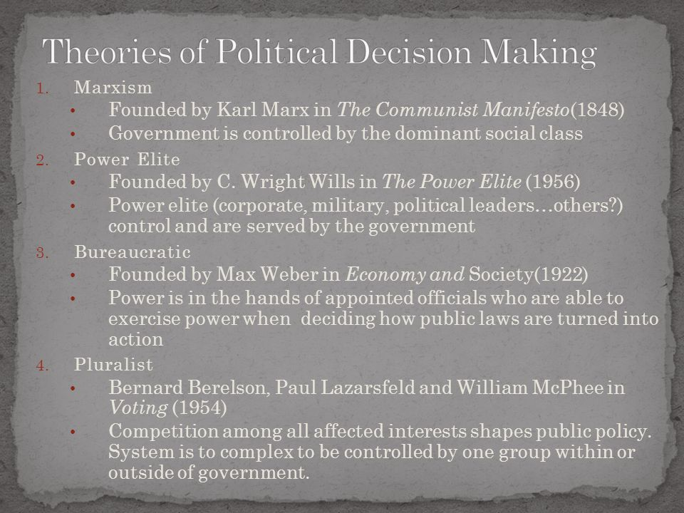 Theories of Political Decision Making