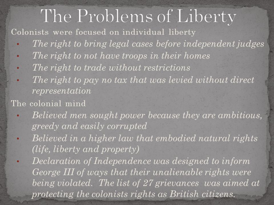The Problems of Liberty