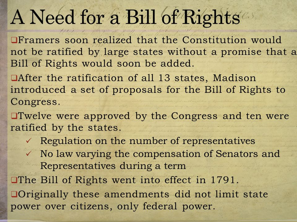 A Need for a Bill of Rights
