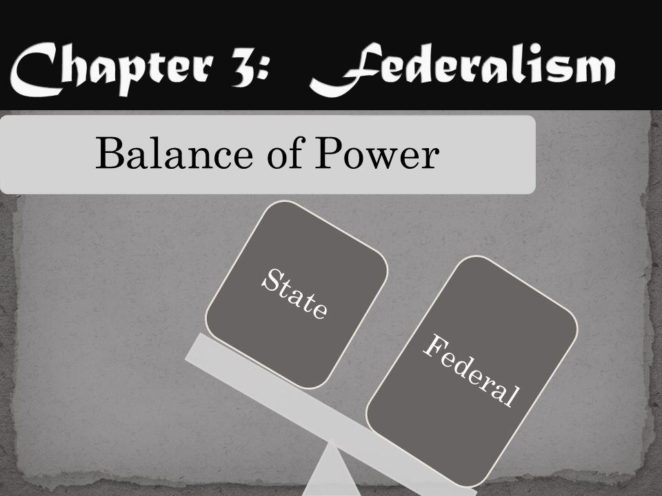 Chapter 3: Federalism State Balance of Power Federal