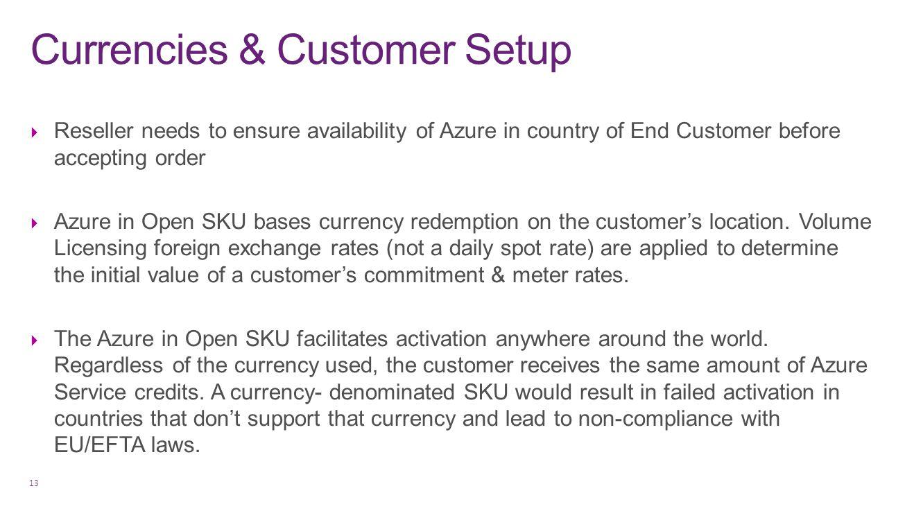 Currencies & Customer Setup