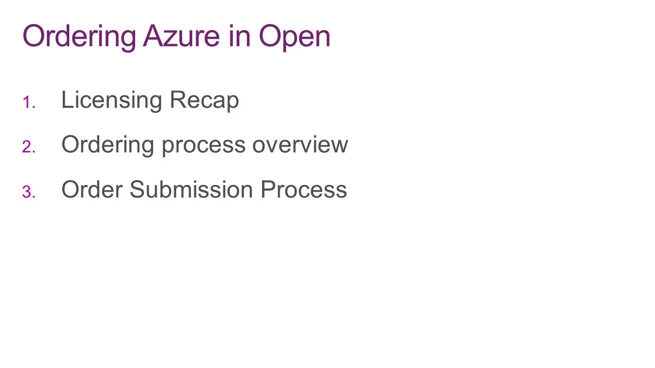 Ordering Azure in Open Licensing Recap Ordering process overview