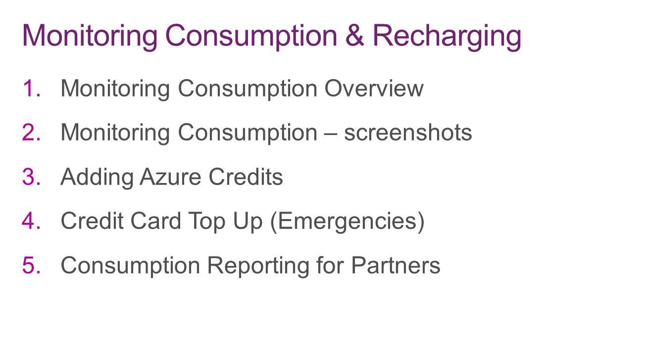 Monitoring Consumption & Recharging