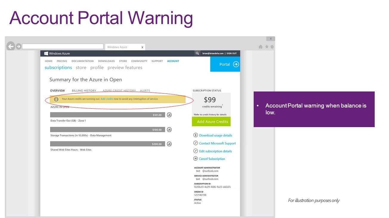Account Portal Warning
