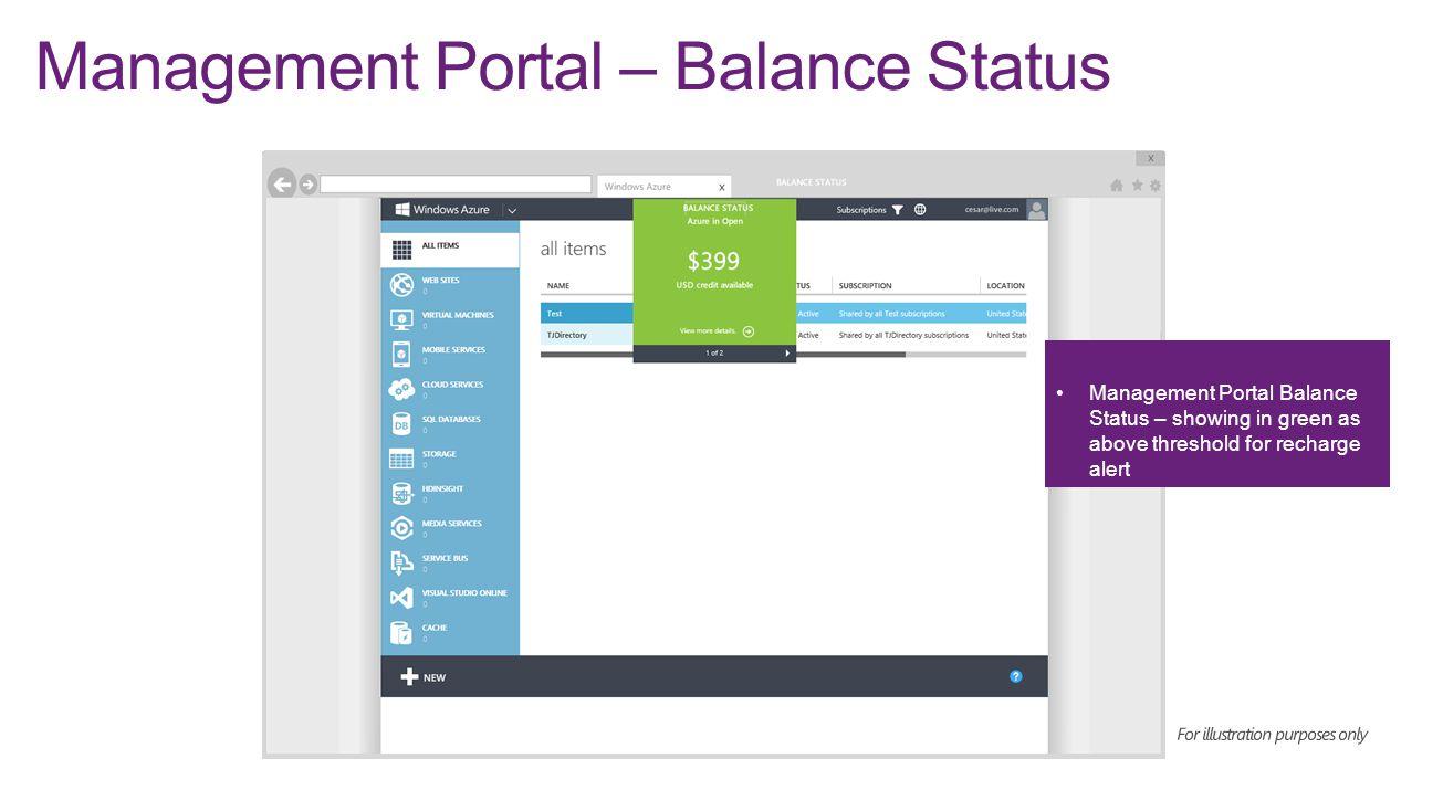 Management Portal – Balance Status