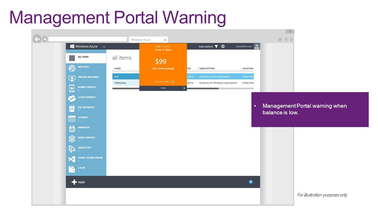 Management Portal Warning