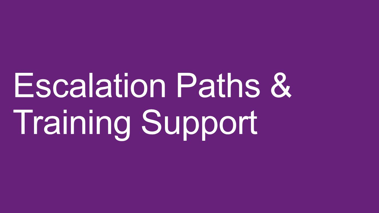 Escalation Paths & Training Support