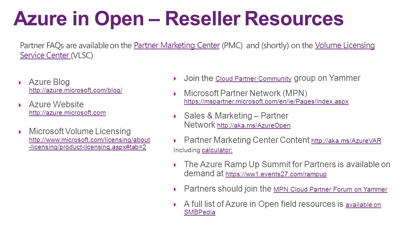 Azure in Open – Reseller Resources