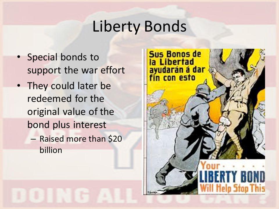 Liberty Bonds Special bonds to support the war effort