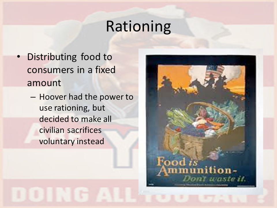Rationing Distributing food to consumers in a fixed amount