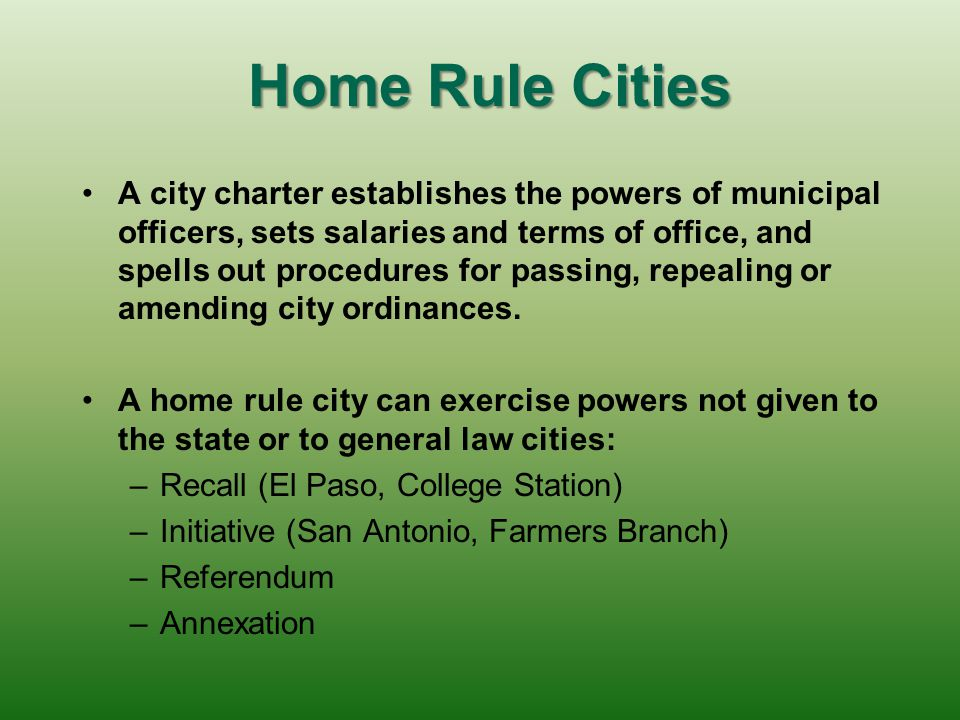 Home Rule Cities