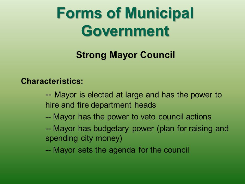 Forms of Municipal Government