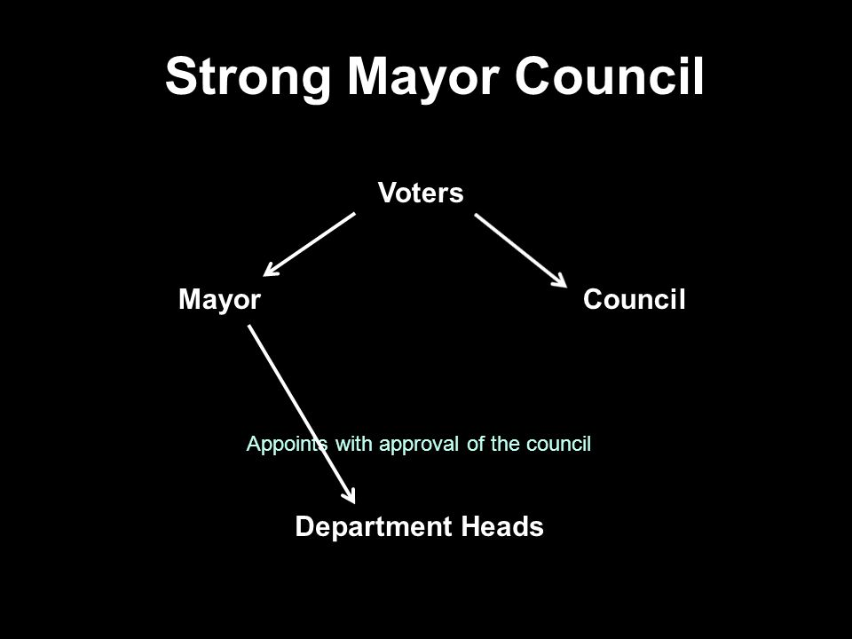 Strong Mayor Council Voters Mayor Council Department Heads