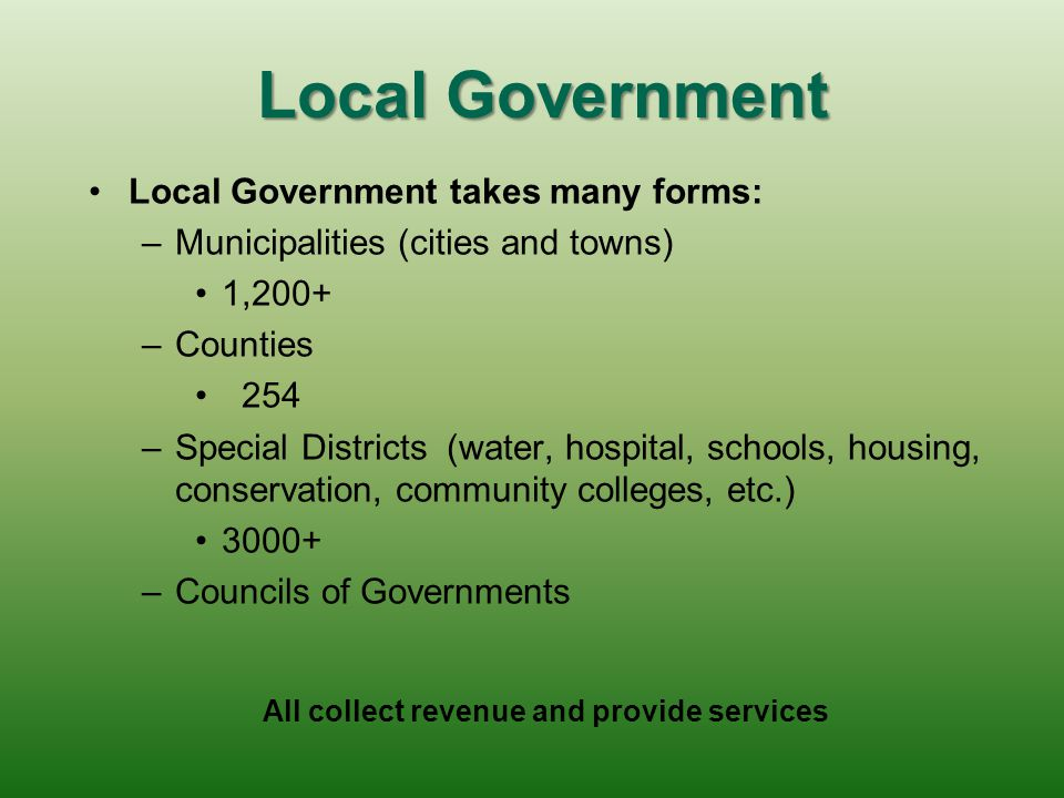Local Government Local Government takes many forms: