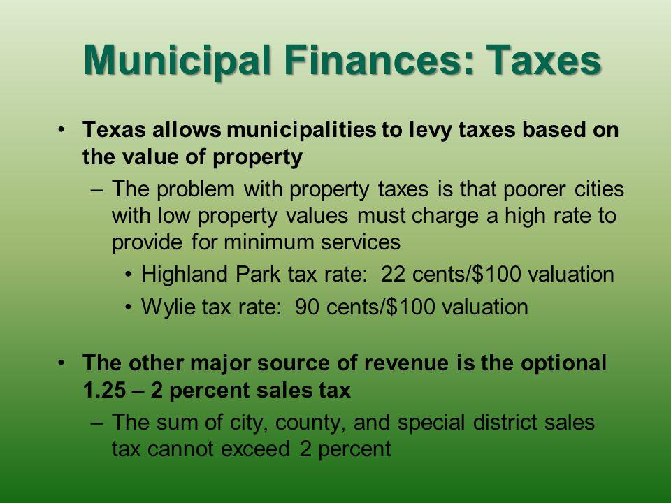 Municipal Finances: Taxes